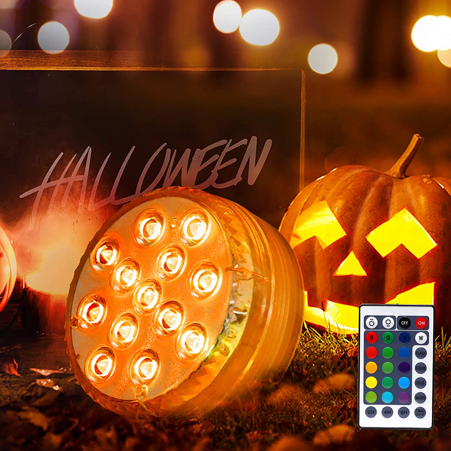 GLODD Submersible Led Lights Halloween Lights with Suction Cups,Magnet,28IR Remote,Battery Operated LED Pool Lights IP68 Waterproof Light for Halloween Thanksgiving Christmas Decoration
