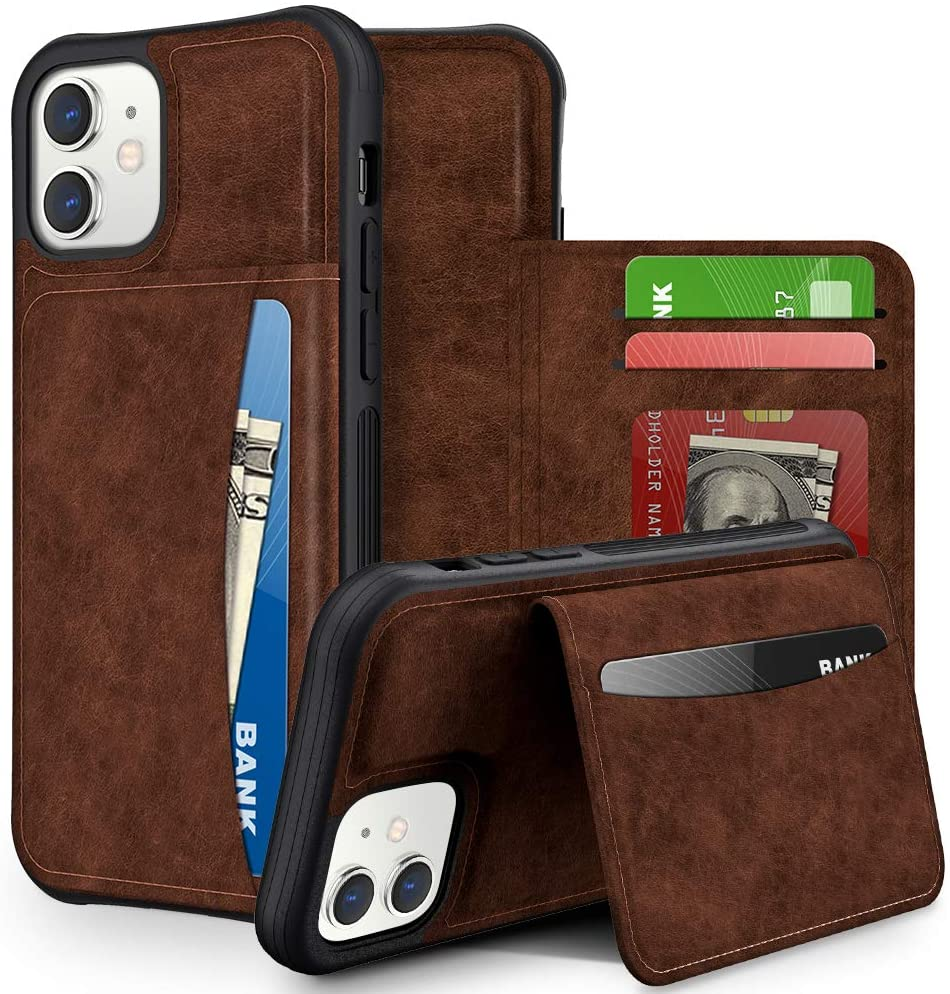 VEGO Wallet Case for iPhone 12 iPhone 12 Pro,Premium Leather Credit Card ID Slots Holder Cover for Men,Flip Magnetic Closure Protective Cover with Kickstand for iPhone 12 Pro 6.1 Inch (2020) (Brown)