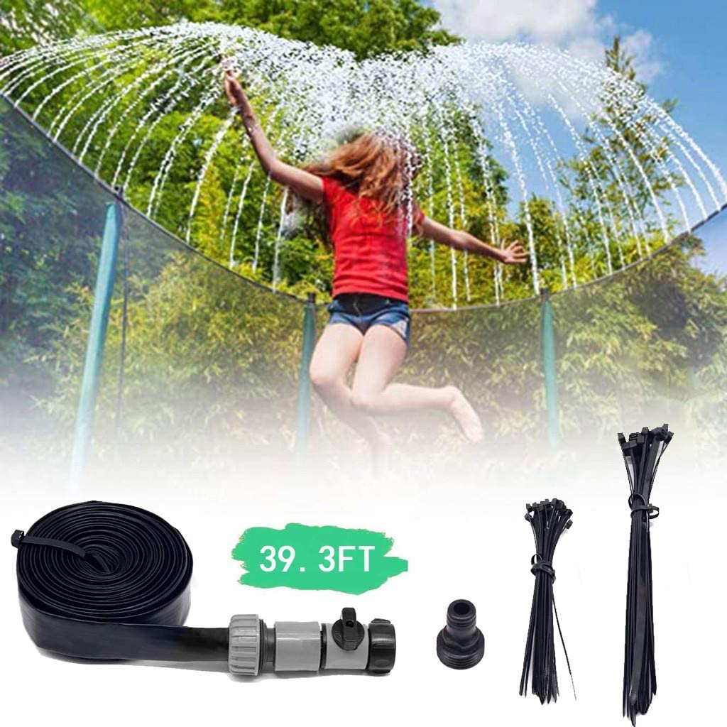 Trampoline Sprinkler for Kids,Water Sprinkler with Cable Tie for Lawn,Outdoor Water Sprinklers for Kids,Trampoline Spray Hose,Water Play for Kids Outside,Summer Water Fun for Kids Garden (39.3FT)
