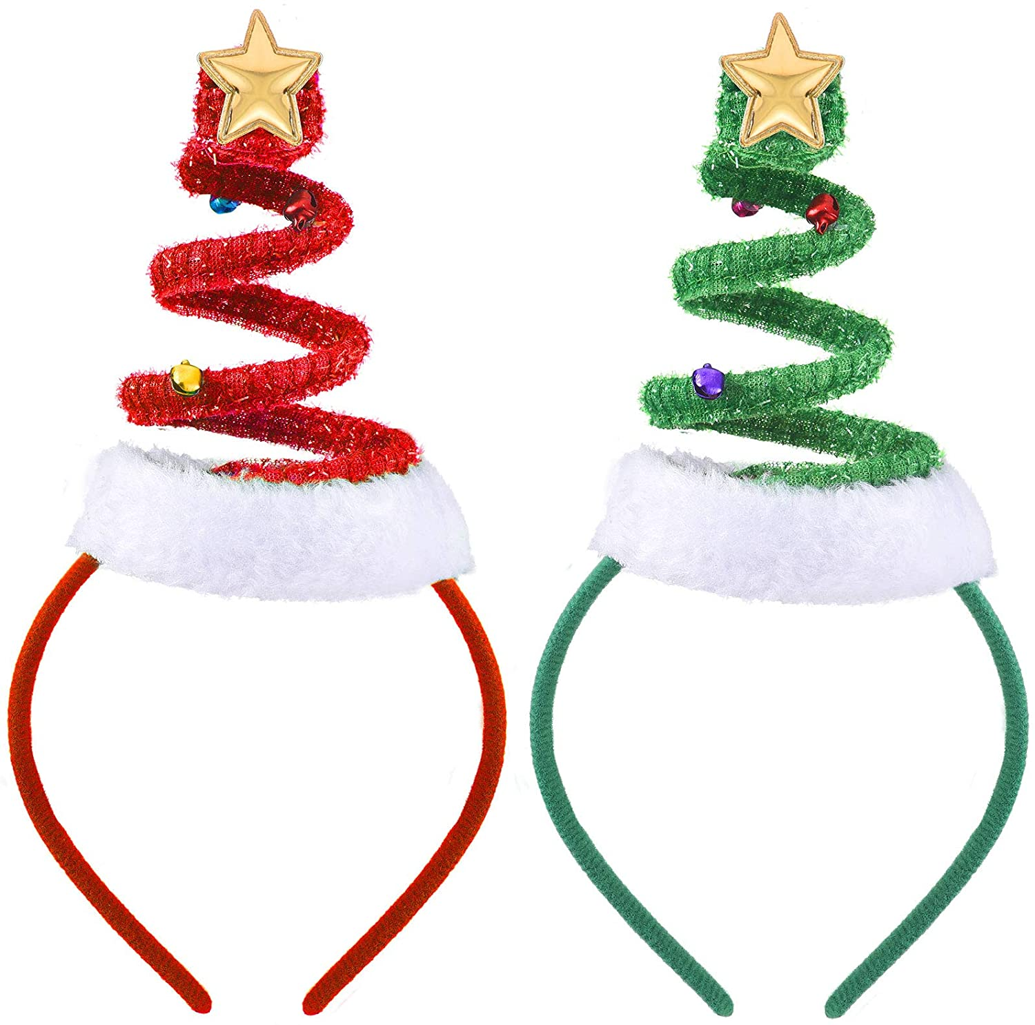 WILLBOND 2 Pieces Christmas Tree Headband with Bells Santa Headwear Red and Green Xmas Hairbands Party Accessory