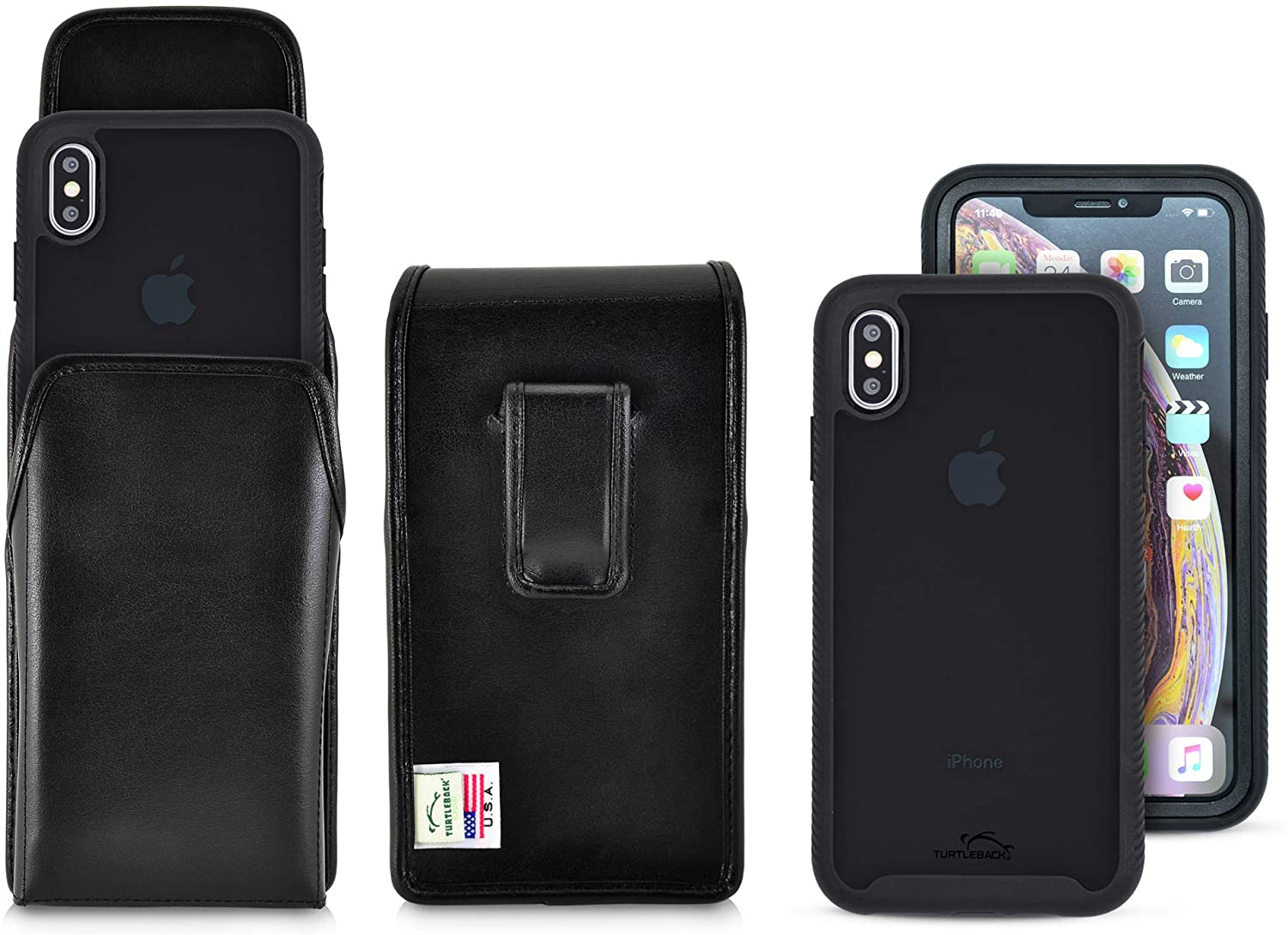 Turtleback Tough Defense Case/Holster Combination Designed for iPhone Xs Max Military Grade Drop Tested Ultra Clear Back, Fitted in Black Leather Belt Pouch, Executive Belt Clip-Vertical/Black