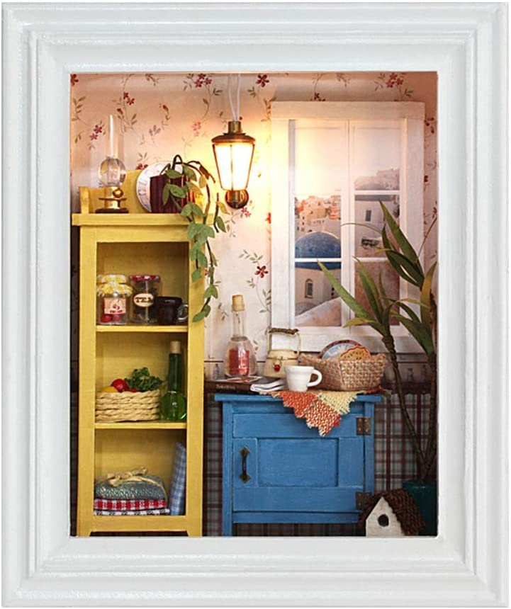 Sanpyl DIY Dollhouse, Miniature Photo Frame Design Doll House Display Mini House Kit Home Decoration Furniture Kids Birthday Gifts Warm House