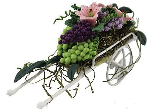 Generic Flower Beautiful Fruits Flowers Cart for 1/12 Scale Dollhouse Furniture