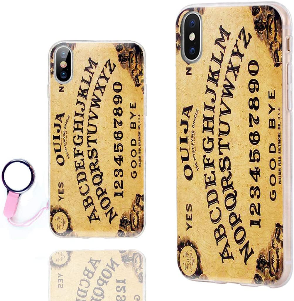 iPhone Xs Max Case Cute,ChiChiC 360 Full Protective Shockproof Thin Slim Flexible Soft TPU Clear Case Cover with Cool Design for iPhone Xs Max 6.5,Yellow Ouija Board Funny