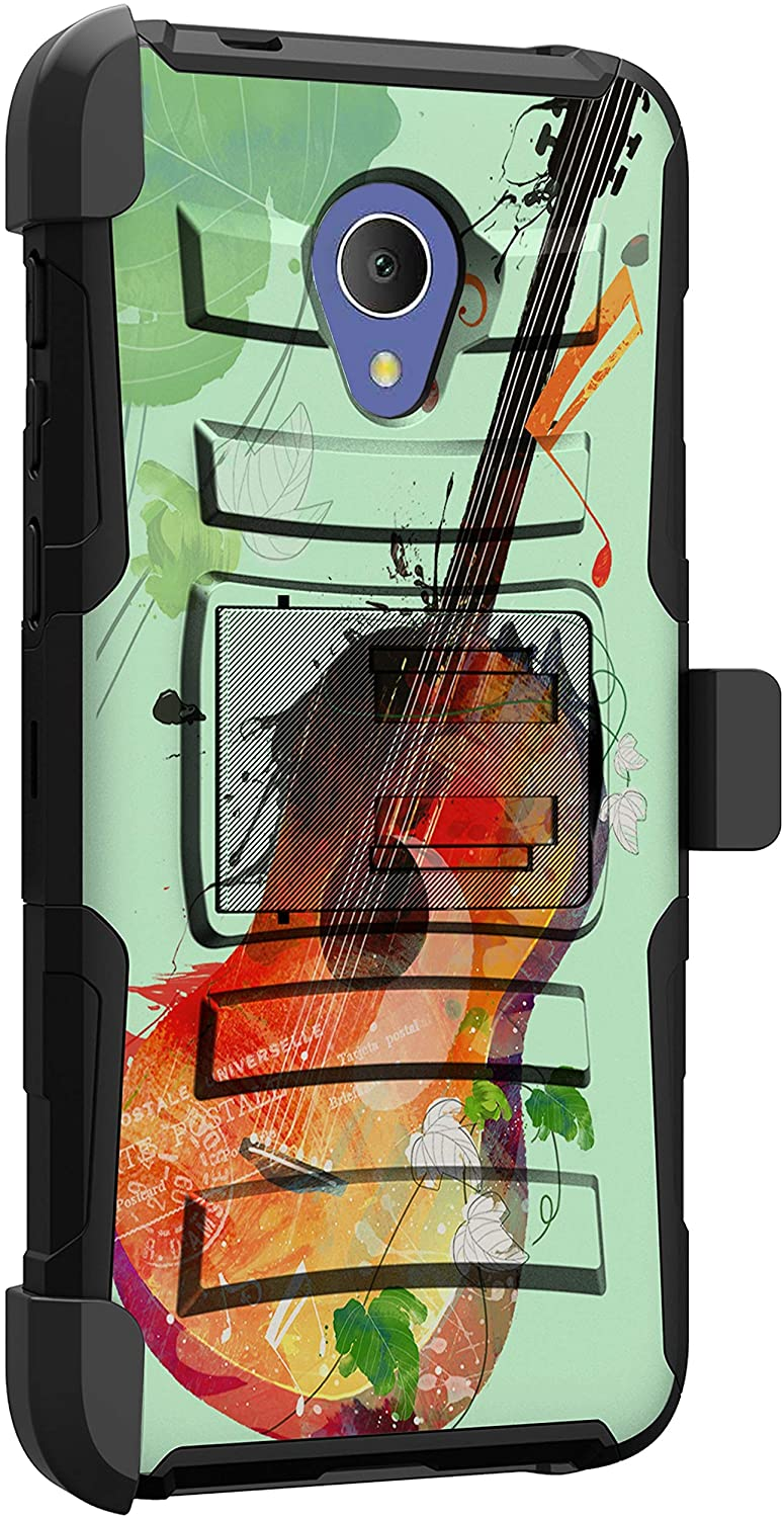 MINITURTLE Compatible with Alcatel 1X Evolve, TCL LX, IdeaXTRA, Avalon V Heavy Duty Rugged Protective Holster Belt Clip Case Cover [Clip Armor] - Guitar