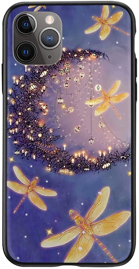 Dragonfly Dancing with The Moon iPhone Case for iPhone 8 Plus/7 Plus- Glass Case with Unique Design Slim Fit Anti Scratch Shock Proof Girls Women Gifts Cover Compatible for Apple iPhone 8 Plus/7 Plus
