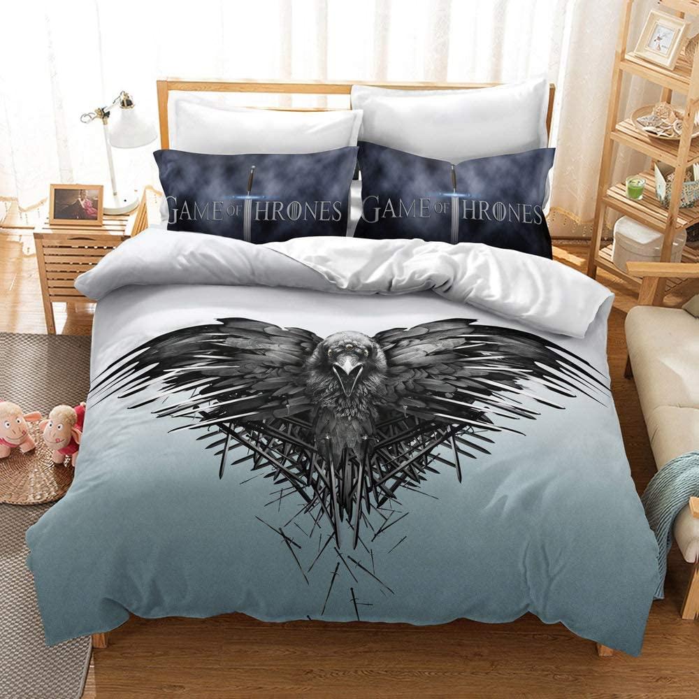 Lianai Game of Thrones Bedding Set King Size Teen Boys Eagle Animal Duvet Cover Set 3 Piece, 1 Duvet Cover + 2 Pillowcases, No Comforter