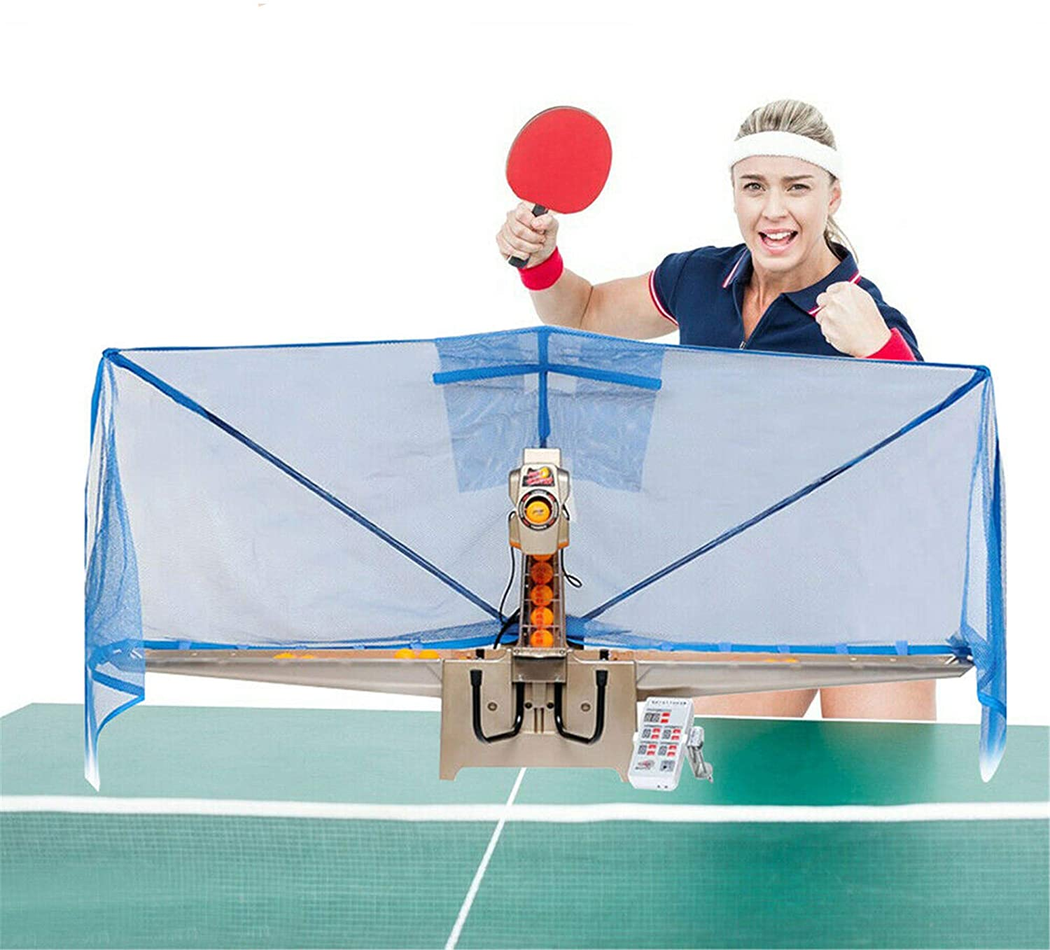 DNYSYSJ Table Tennis Robot Automatic Ping Pong Ball Machine with Catch Net for Ping Pong Practicing Training Exercise, Including Remote Control