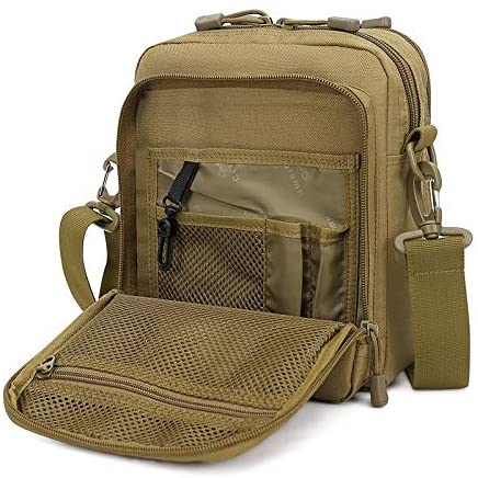 Huntvp Small Canvas Messenger Bag Small Tactical Bag Crossbody Casual Pack Molle Pouch Travel Purse