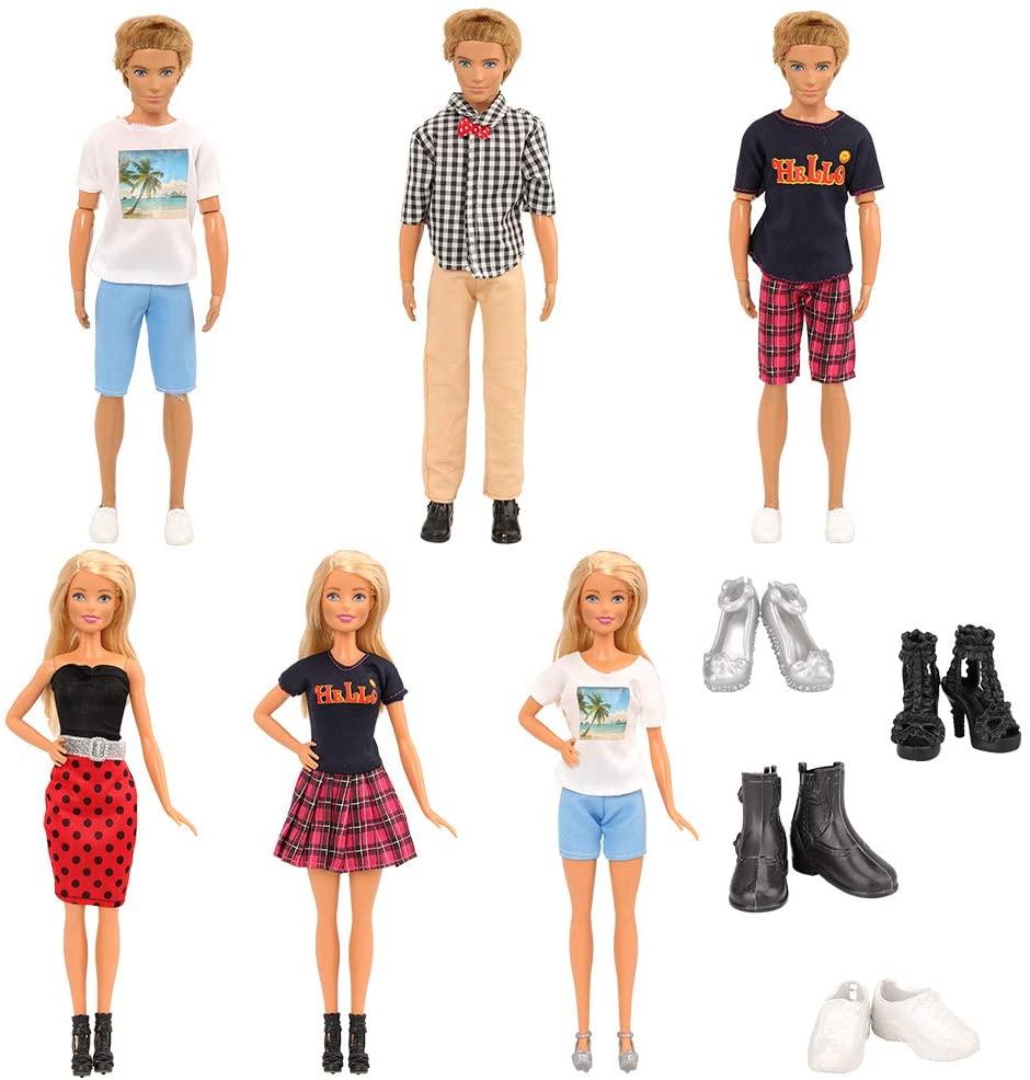Miunana Lot 14 Pcs Couple Costume Clothes and Shoes, 3 Set Couple Costume + 2 Shoes for Ken + 2 Shoes for 11.5 Inch Dolls