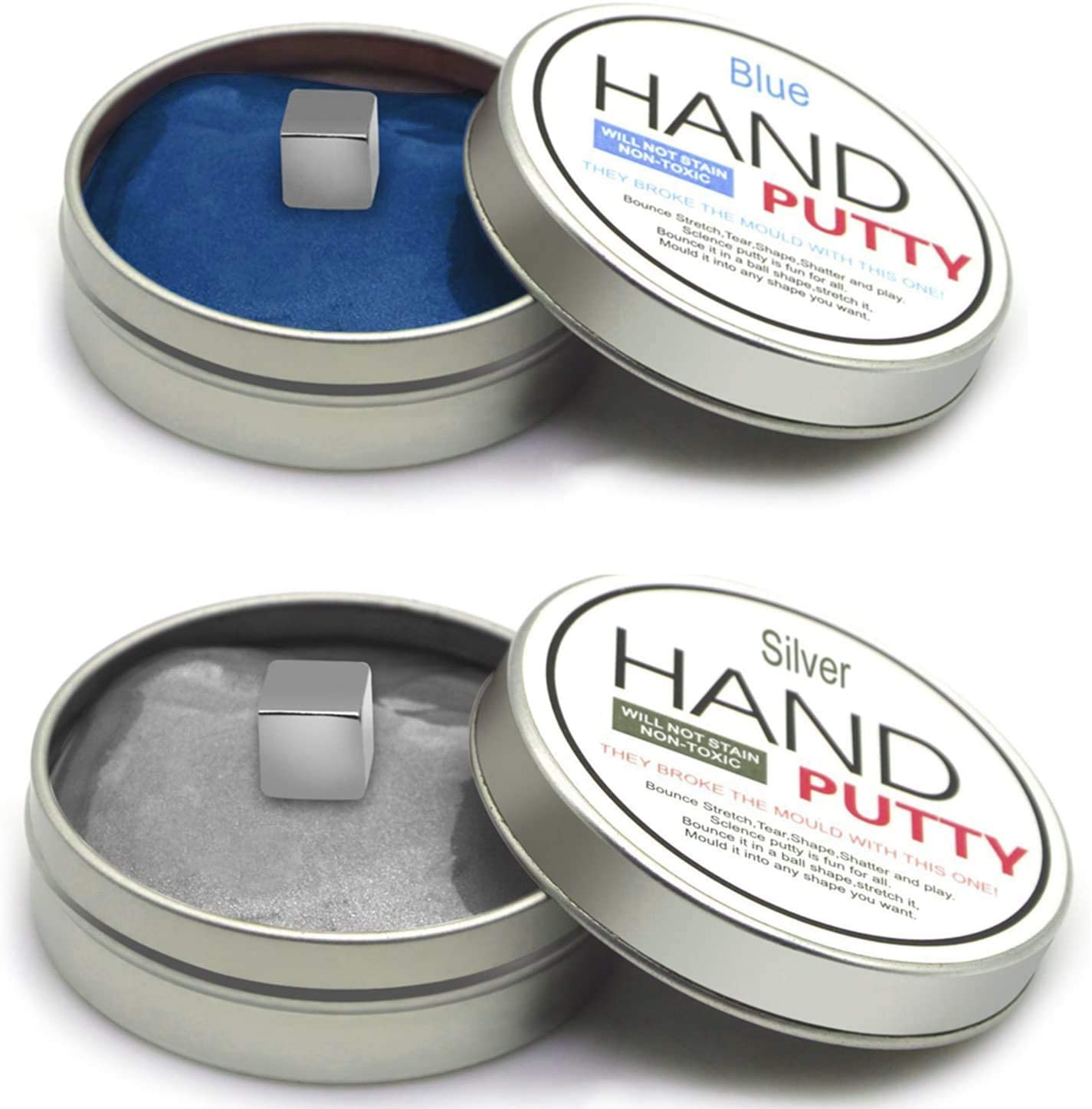 2 Pack Magnetic Putty, iRunning Super Magnetic Space Putty Slime Toy Stress Reliever for Kids and Adults for Fun (Silver, Blue)