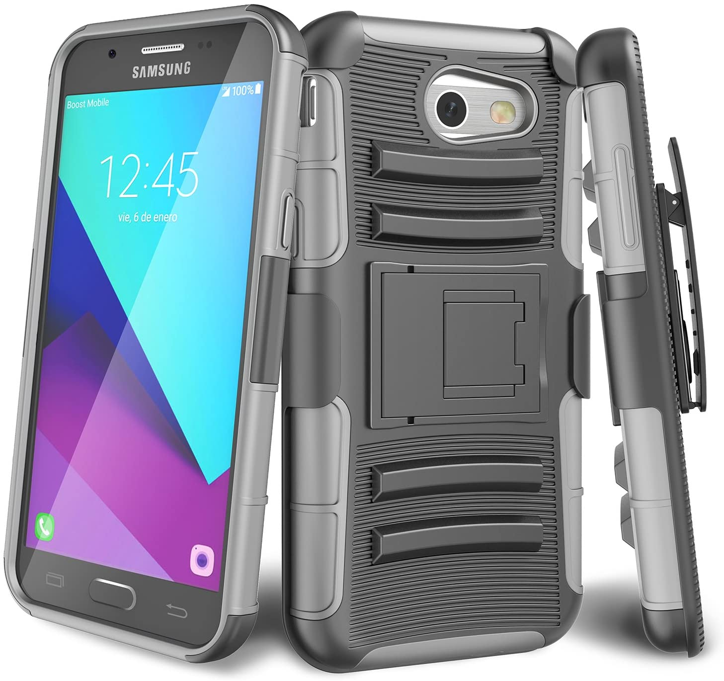 Galaxy J3 Emerge Case,TILL [Knight Armor] Heavy Duty Full-Body Rugged Holster Resilient Armor Case [Belt Swivel Clip][Kickstand] Combo Cover Shell for Galaxy J3 Emerge 2017 J327[Gray]