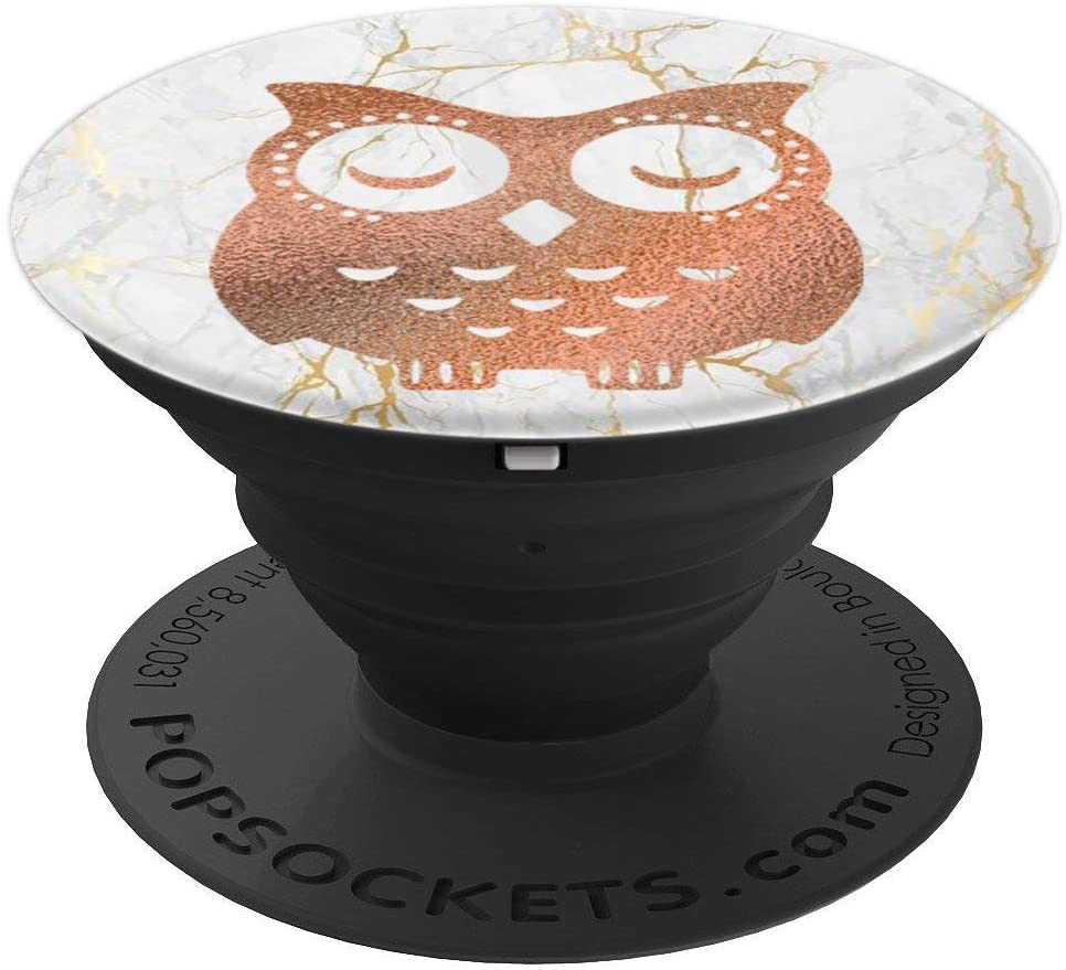 Rose Owl Yellow White PopSockets Grip and Stand for Phones and Tablets