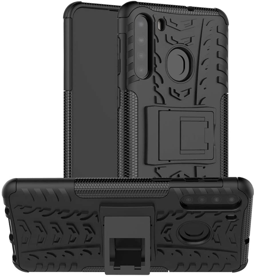 EMAXELER Samsung Galaxy A21 Case PC + TPU Hybrid Impact Armor Tire Model with Kickstand Shockproof Heavy Duty Hard Dual Layer Case for Galaxy A21 (EU Version) -Black Tire Pattern JX.