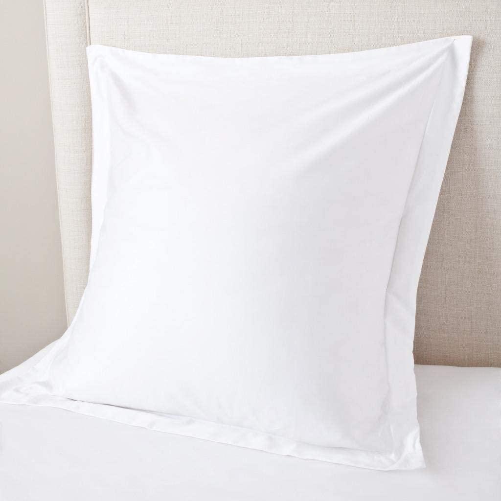 SHEETEX 800 Thread Count Set of 2 Square Euro Pillow Shams Cushion Cover Snow White Solid, 100% Organic Cotton, Euro/European 26