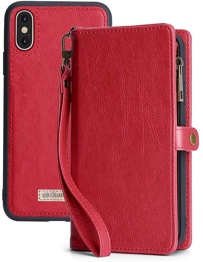 iPhone Xs Wallet Case,iPhone X Case,kelaSip Leather Wallet Phone Case & Card Holder Buckle Magnetic Detachable,Red,for iPhone Xs/iPhone X