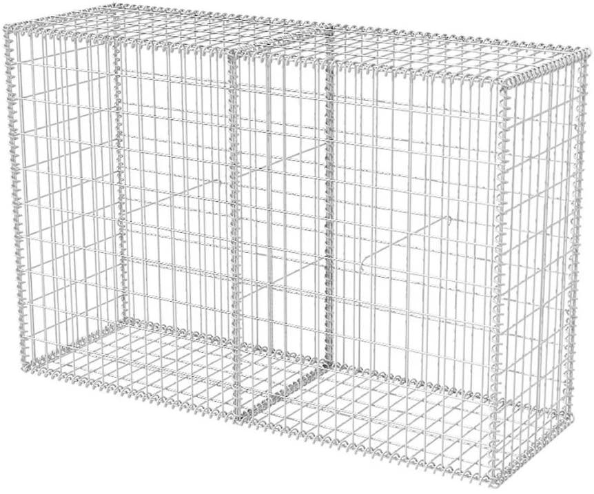 Festnight Gabion Basket Galvanised Steel Wire Panel Fence 59