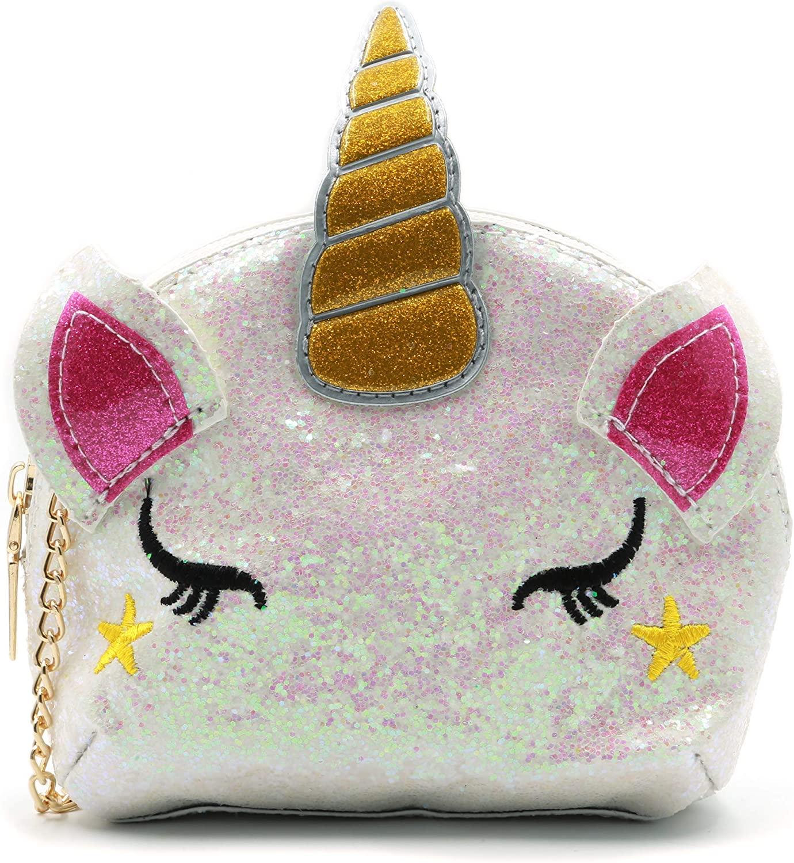 QiMing Sequin Unicorn Crossbody Purse,Pu Glitter Shoulder Bag for Kids Girls(White)