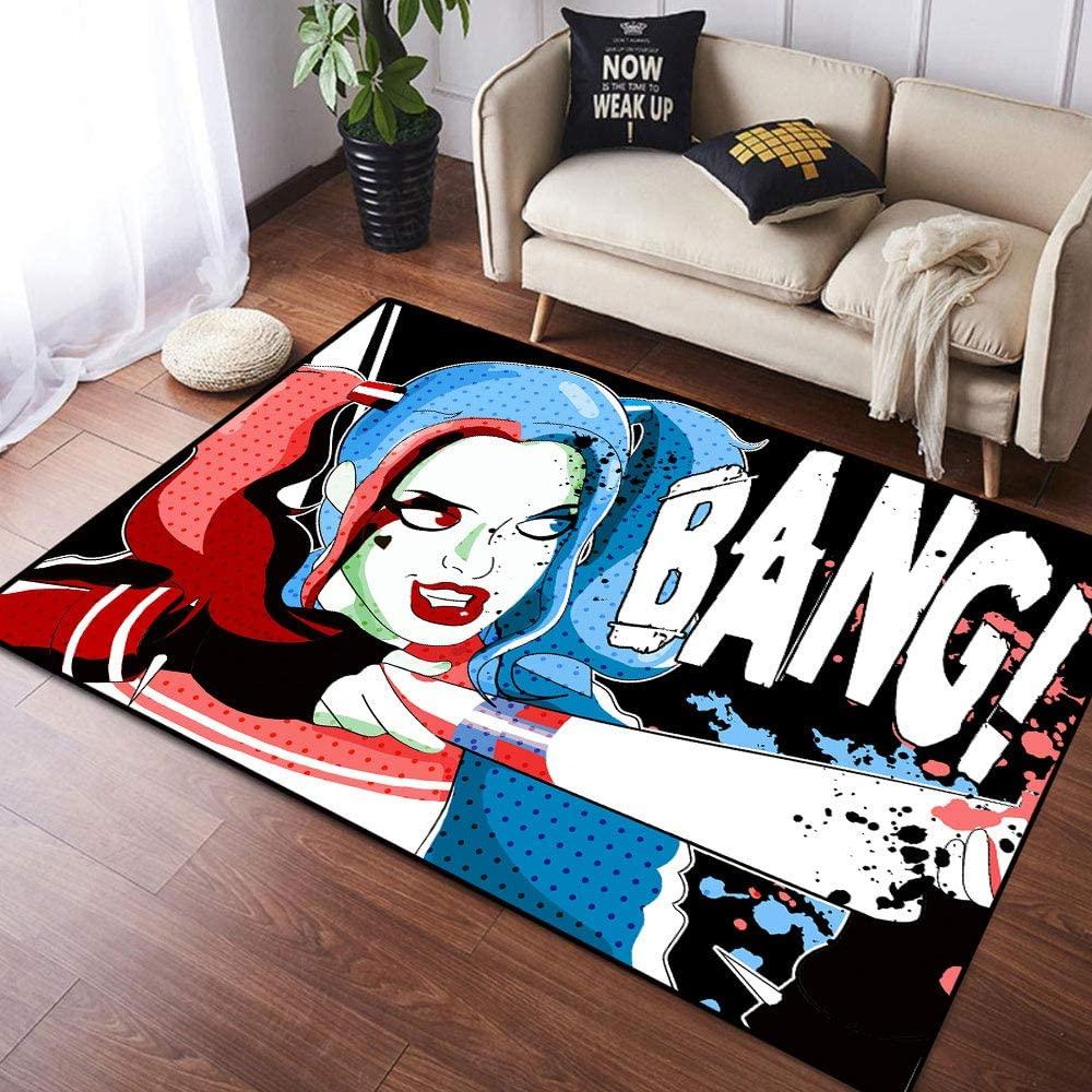 Coobal Harley Quinn Home Decoration Large Rug Floor Carpet Yoga Mat, Kids Rug for Children Kid Playroom Bedroom 3x5 Foot(90cmx150cm)