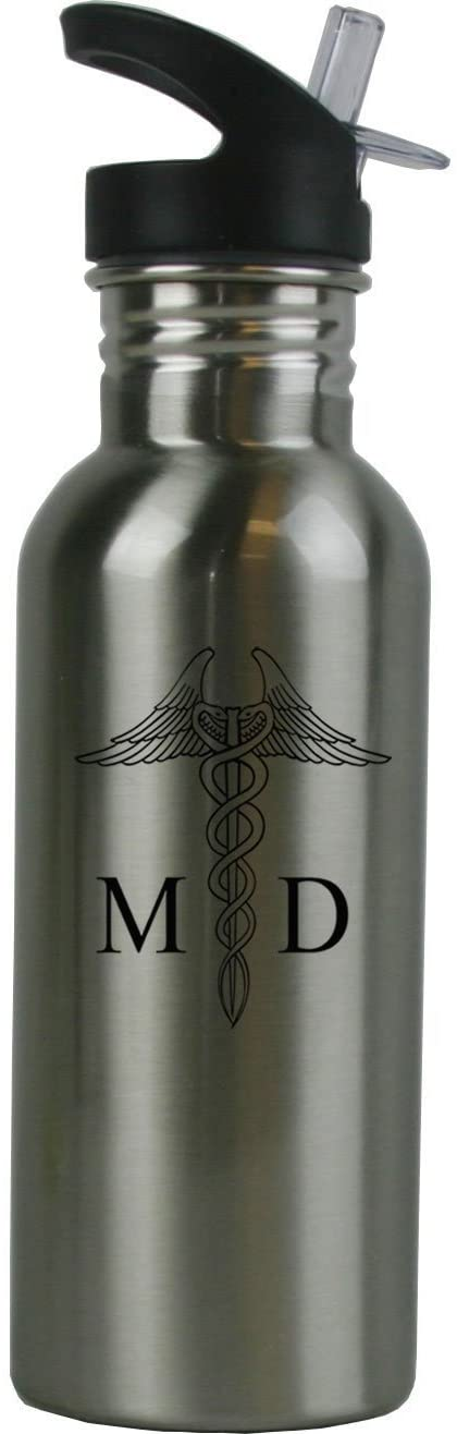 Personalized Custom MD, Doctor Stainless Steel Water Bottle with Straw Top 20 Ounce Sport Water Bottle Customizable