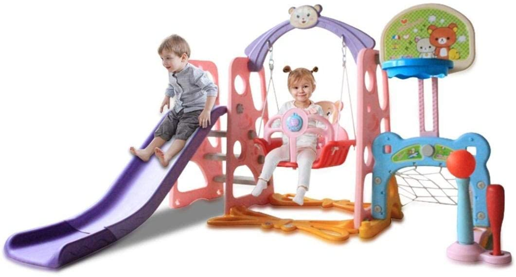Toddler Slide and Swing Set, Childrens Slide Playground Slide Climber with Basketball Hoop Football Set for Indoor and Backyard Playground(6-in-1)