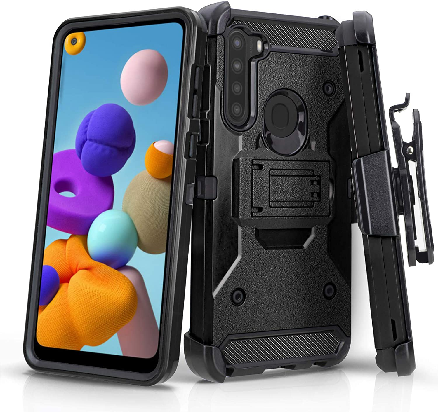 CasemartUSA Phone Case for [Samsung Galaxy A21], [Tank Series][Black] Shockproof Cover with Built-in Kickstand & Belt Clip Holster for Samsung Galaxy A21 (Verzion, Boost Mobile, T-Mobile, Metro)