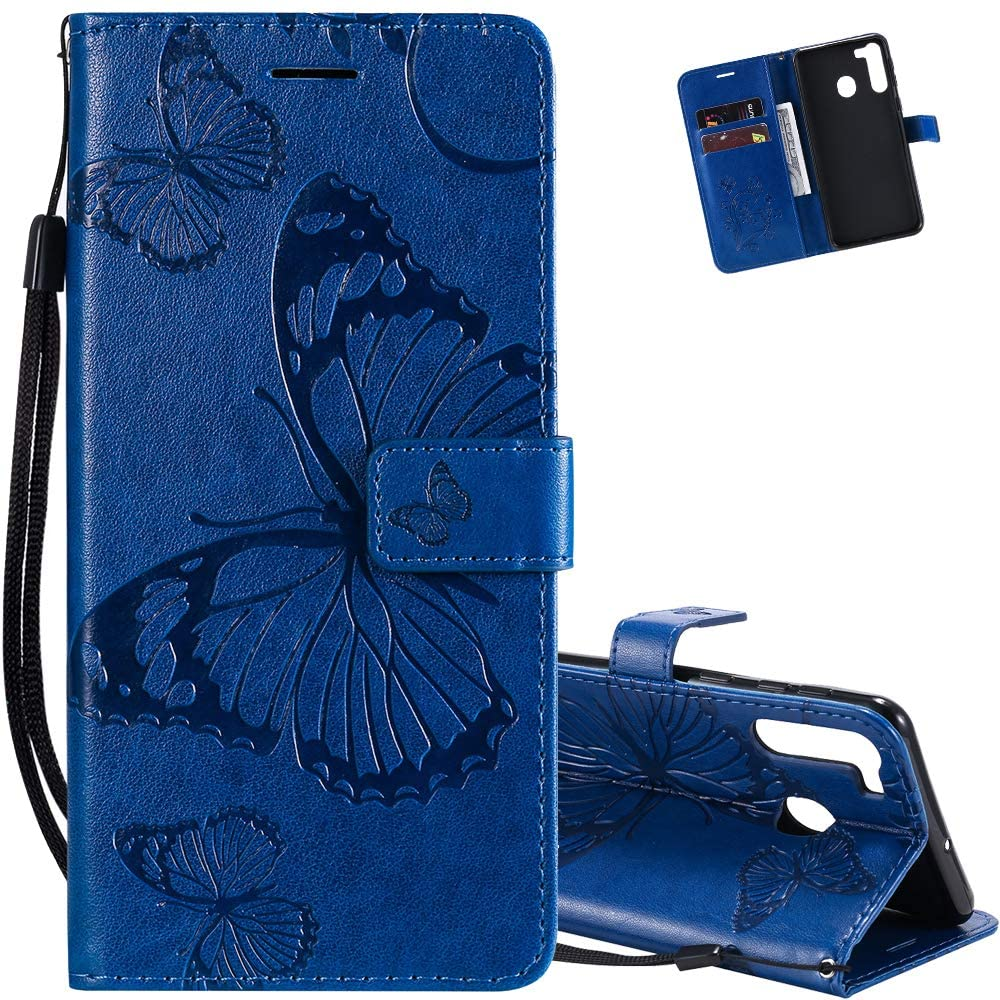 EMAXELER Samsung Galaxy A21 Case Shockproof PU Leather Retro 3D Butterfly Embossed Wallet Flip Case Magnetic Stand with Card Slot Folio Cover for Galaxy A21 (EU Version) Butterfly Blue KT