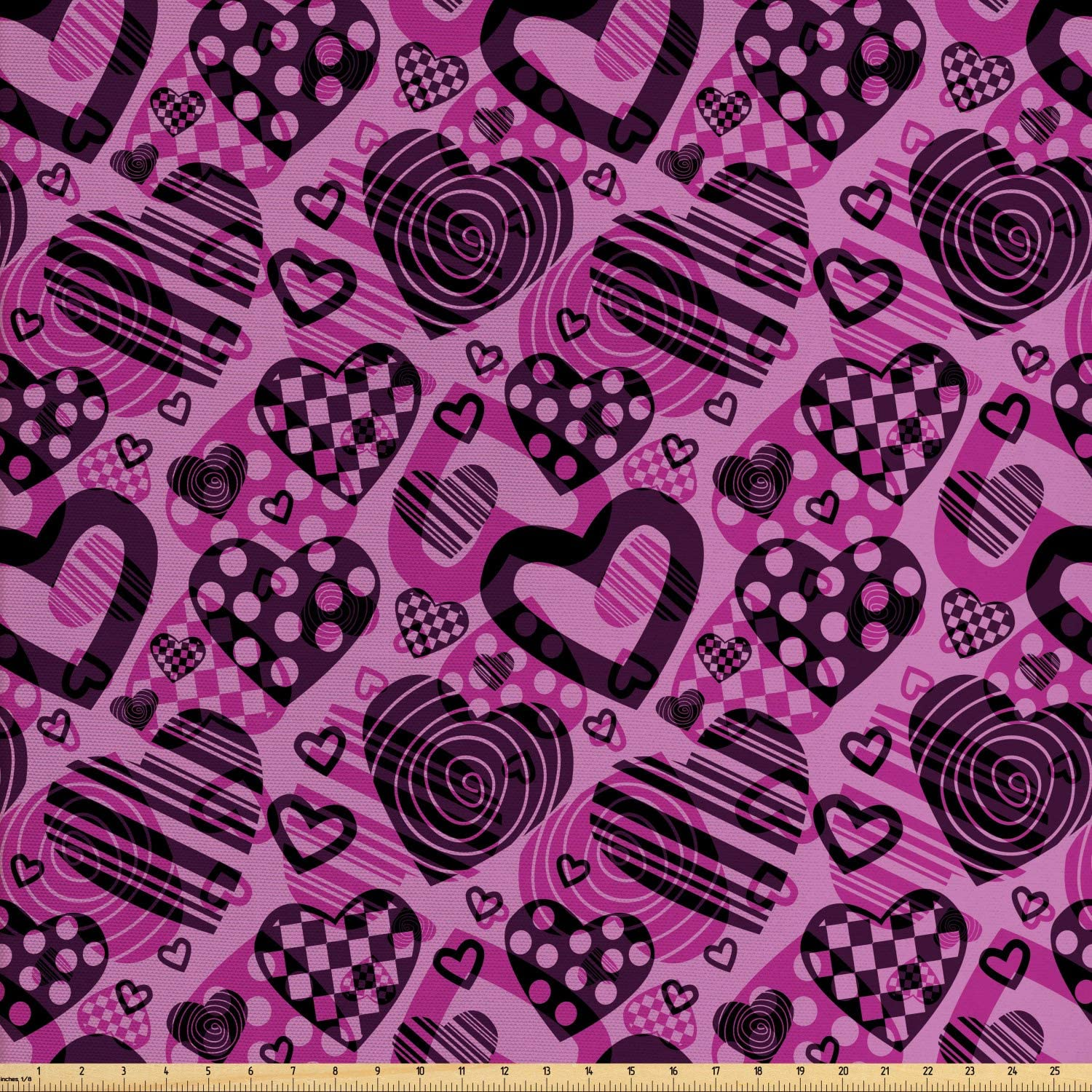 Lunarable Valentines Day Fabric by The Yard, Heart Shapes in Different Forms Circle Plaid and Spiral Style, Decorative Fabric for Upholstery and Home Accents, 3 Yards, Charcoal Grey and Magenta