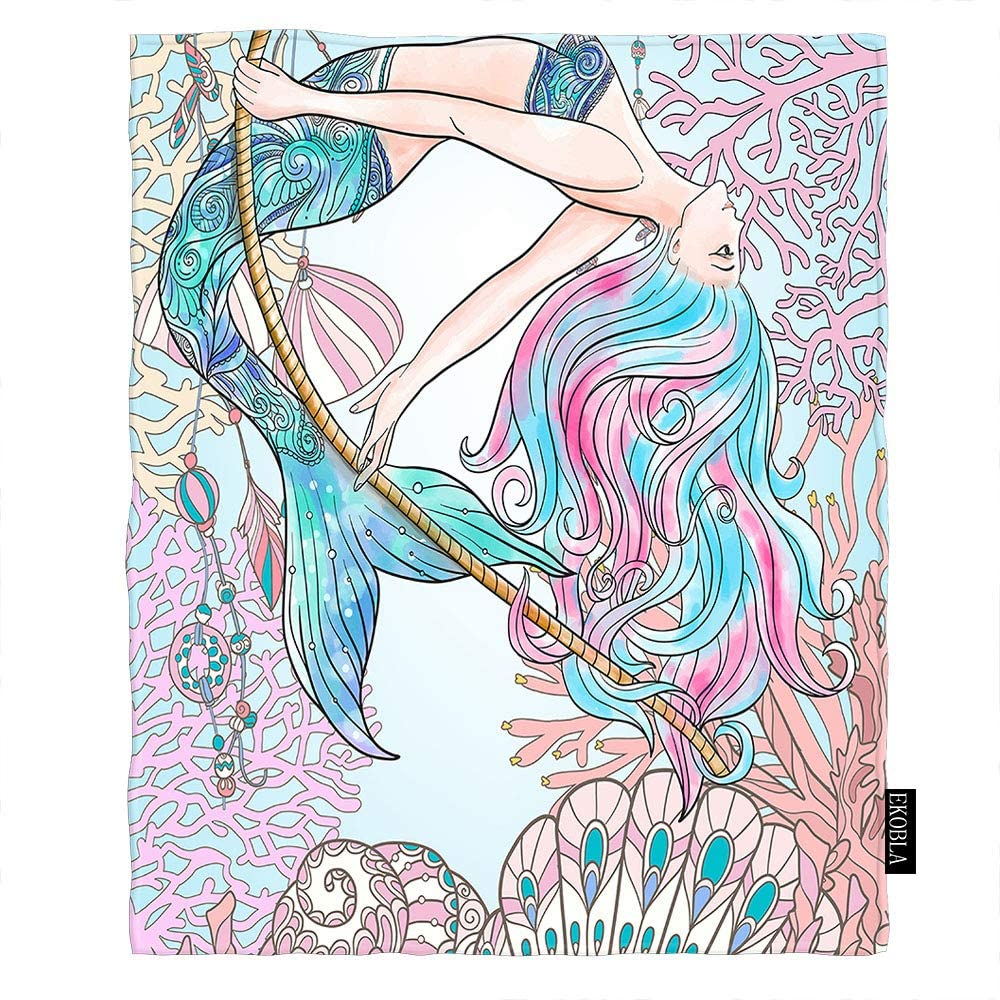 EKOBLA Mermaid Throw Blanket Colorful Underwater Corals Beautiful Cartoon Fairy Tale Shell Conch Soft Throw Blanket for Bedroom Sofa Couch Car Deck Chair Soft Flannel Fleece 60x80 Inch