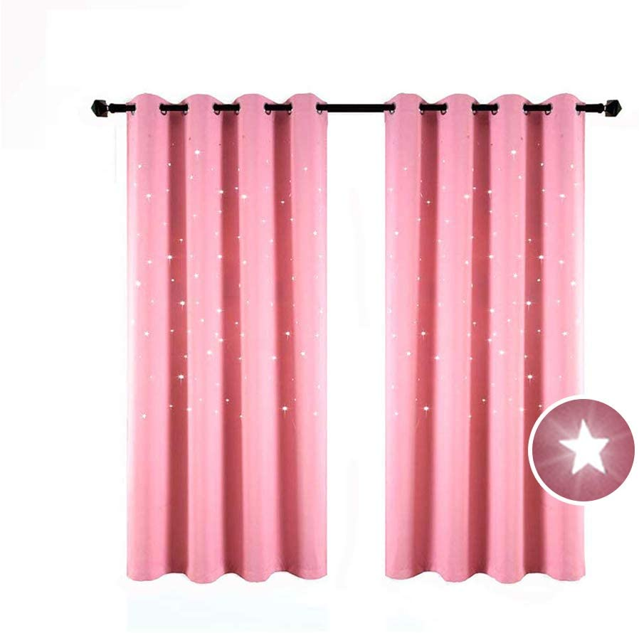 BUZIO 2 Panels Twinkle Star Kids Room Curtains with 2 Tiebacks, Thermal Insulated Blackout Curtains with Punched Out Stars for Space Themed Nursery and Bedroom (52 x 63 Inches, Baby Pink)