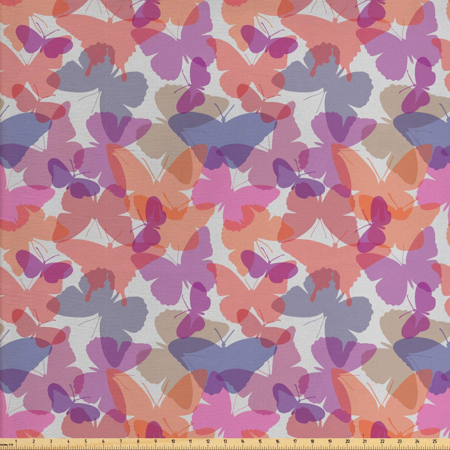 Ambesonne Muted Colors Fabric by The Yard, Charming Layout of Butterfly Silhouettes in Different Shades, Decorative Fabric for Upholstery and Home Accents, 1 Yard, Pale Grey and Multicolor