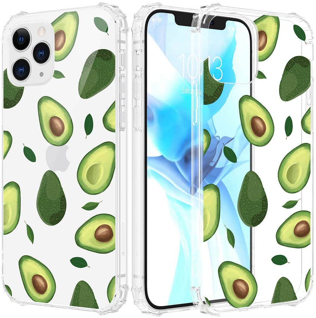 Caka Clear Case for iPhone 12 Pro Max Case for Girls Women, Girly iPhone 12 Pro Max Case Flowers Clear Floral Pattern Soft TPU Protective Case for iPhone 12 Pro Max 6.7 inches (Avocado)