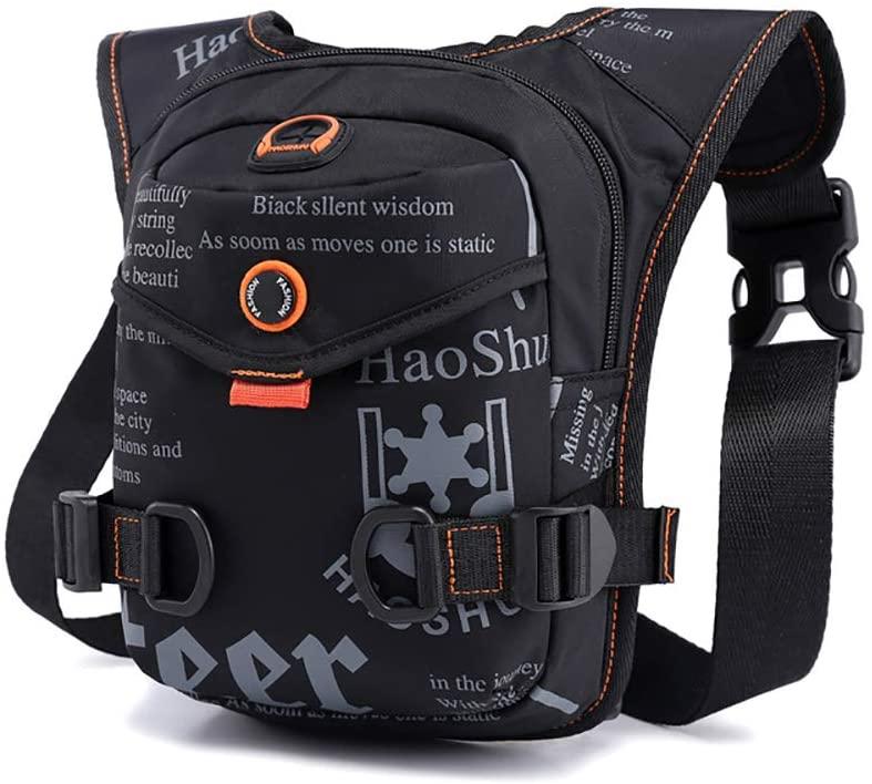 AlwaySky Fanny Packs, Unisex Waist Bag Pack with Headphone Jack Drop Leg Bag Multi-Multifunctional Water-Resiste Shoulder Crossbody Bag Thigh Pack for Sport Traveling Running Hiking Cycling