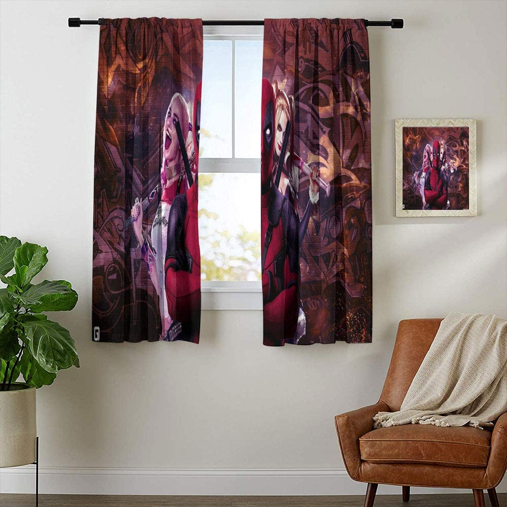 Total Blackout Window Curtains, Birds of Prey Harley Quinn Curtains for Kids Rooms,Window Curtain Fabric W42 x L45 Inch