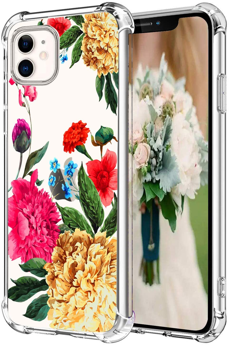 Hepix Floral Clear iPhone 11 Case Flowers iPhone 11 Cases, Slim Flexible Crystal TPU Phone Cover with 4 Protective Bumpers Anti-Scratch Shock Absorption for iPhone 11 (6.1