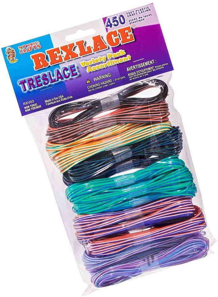 Rexlace Variety Pack - Treslace (3 Colors) - 450 Feet Plastic Craft Lacing