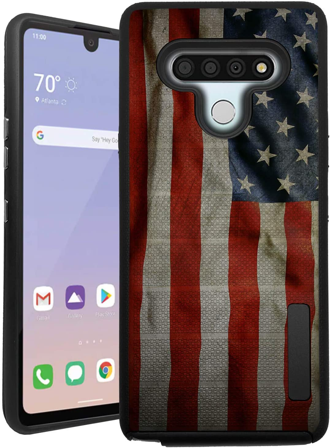 CasesOnDeck Case Compatible with LG Stylo 6 / Stylo 6 Case (2020) [Grip Tactical] Black Dual Layer Dual Layer Grip Cover (American Flag)