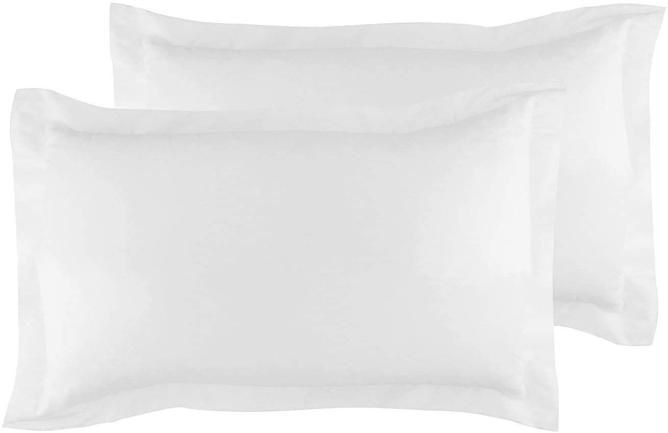 JBD LINEN Full/Queen Sized 20 x 30 inch Pillow Shams Set of 2 Piece with Zipper Clouser, 800 Thread Count 100% Natural Cotton White Solid
