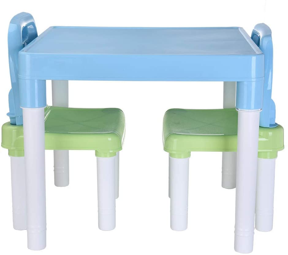 IKevan_ Kids Table and 2 Chairs Set, Plastic Round Corner Table with Learning Chairs for Boys Or Girls Toddler Preschool Bedroom Playroom Home (Light Blue)