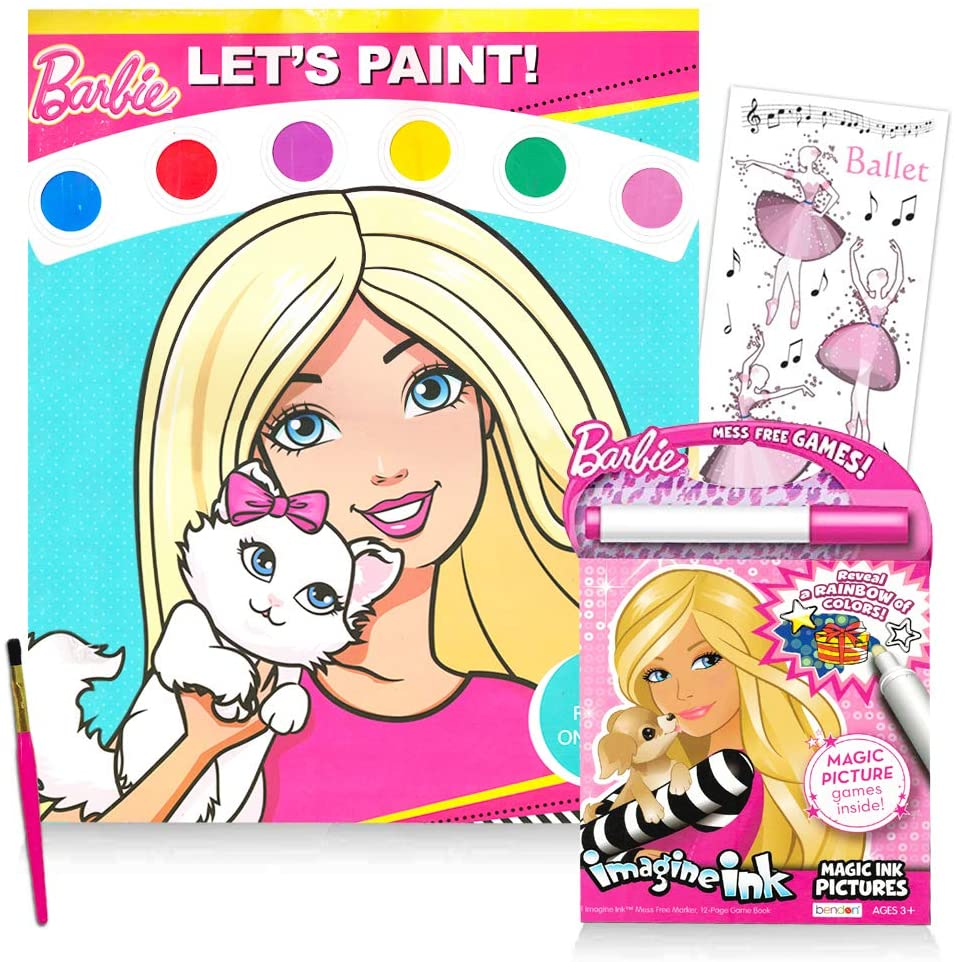 Barbie Painting, Coloring and Activity Book Super Set ~ Barbie Paint with Water and Barbie Coloring and Activity Book with Stickers (Barbie Party Supplies)