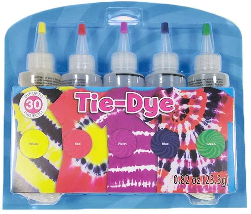 A7D8F9 DIY Pigment Toy-Fabric Textile One-Step Tie-Dye Kit 5 Colors DIY Design Safe Dyes,Household tie-dye Paint DIY Set (B)