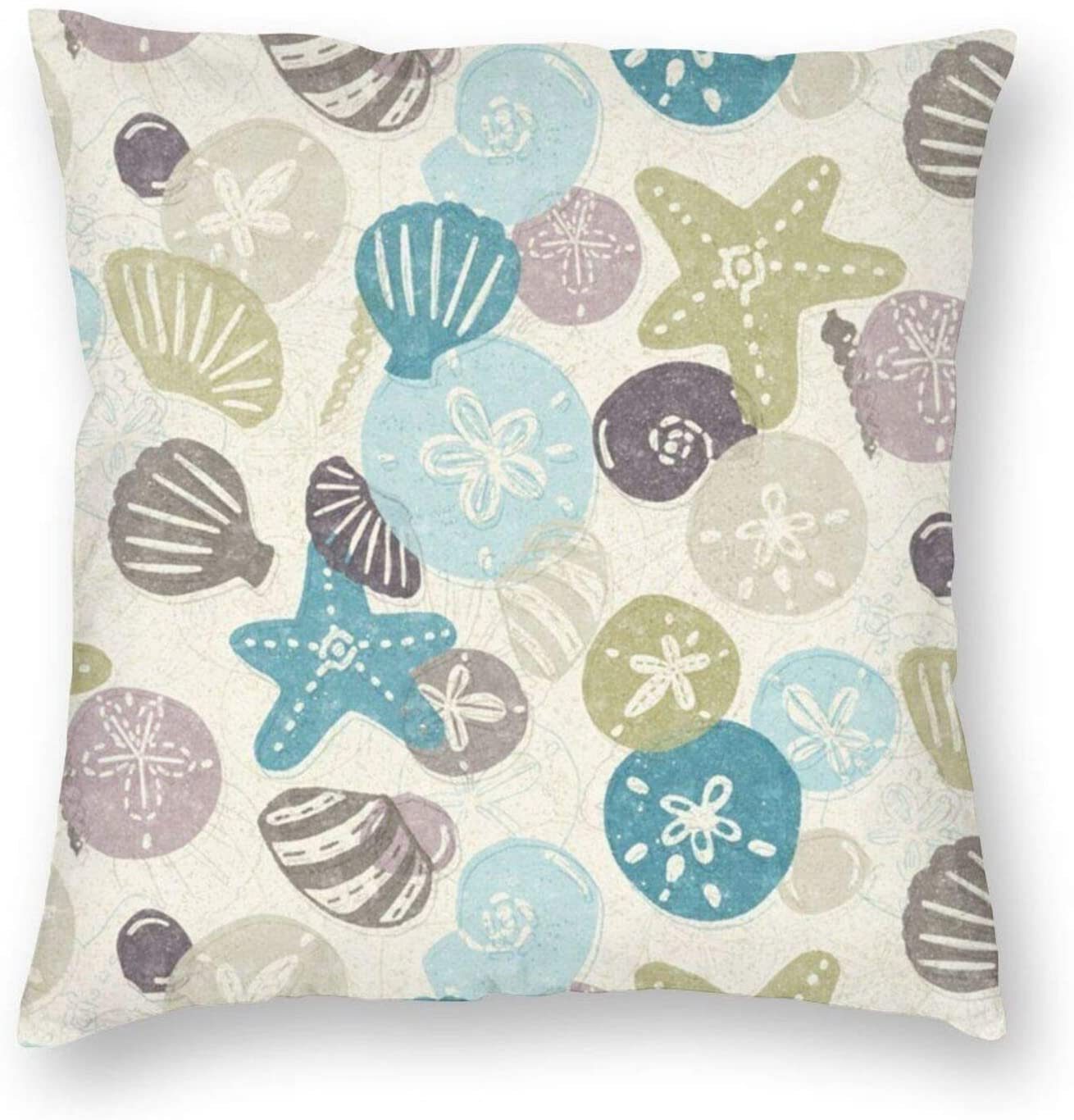 antkondnm Seashells Throw Pillow Covers, Square Decorative Pillow Covers for Home Decor