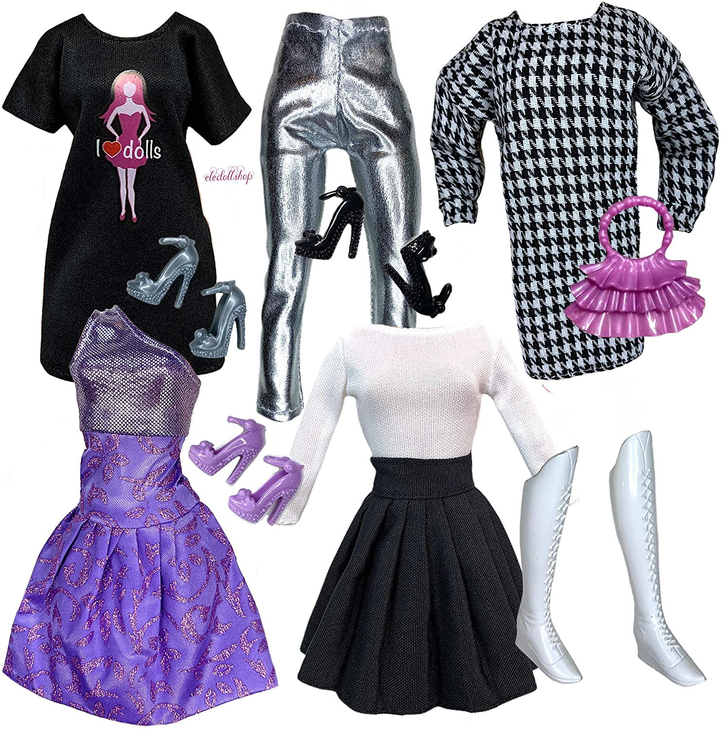 Eledoll 11.5 inch Doll Clothes Lot Shoes Accessories Deluxe Fashion Pack Purple Dress Black White Houndstooth Dress I Love Dolls
