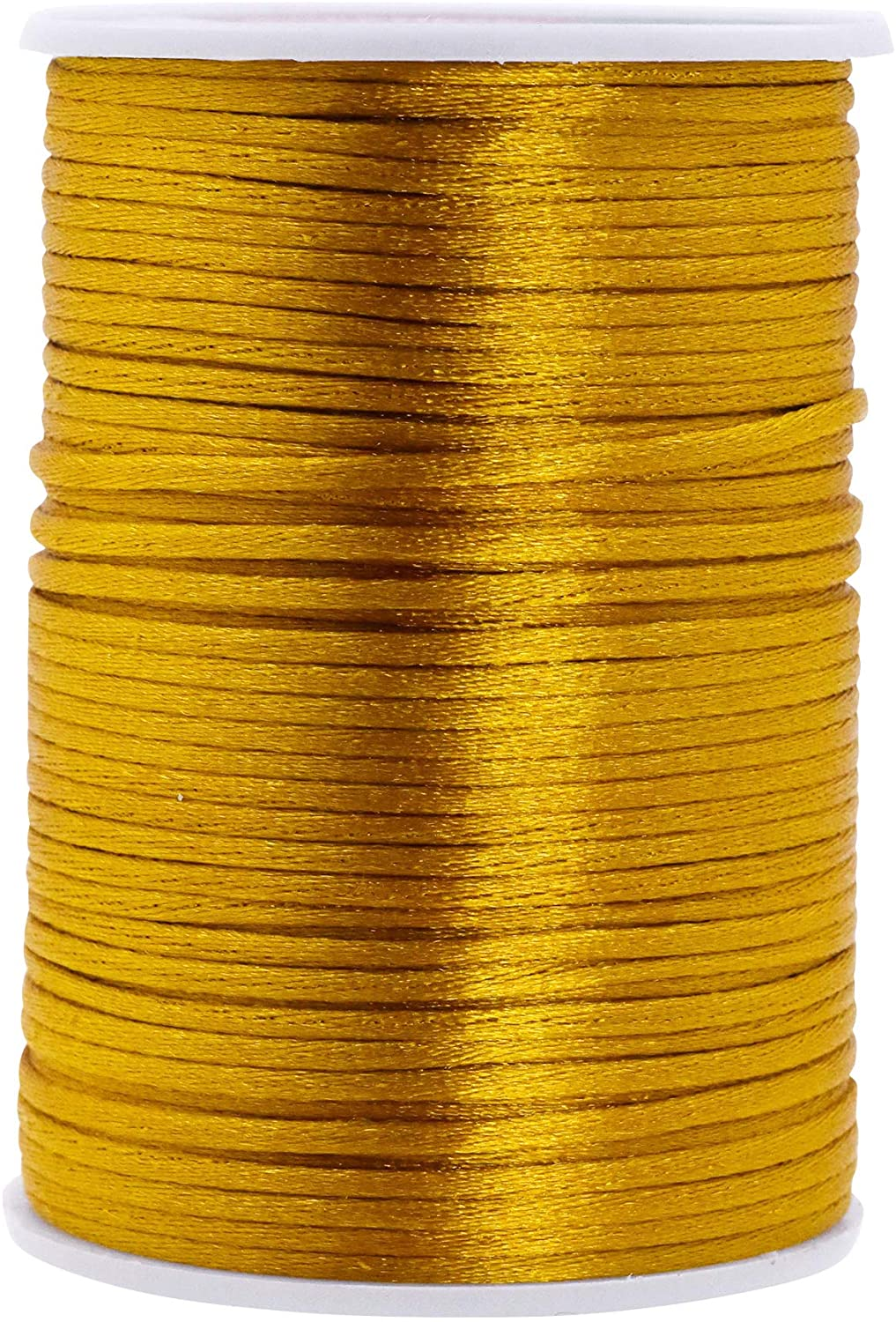 Mandala Crafts Satin Rattail Cord String from Nylon for Chinese Knot, Macramé, Trim, Jewelry Making (Gold, 2mm)