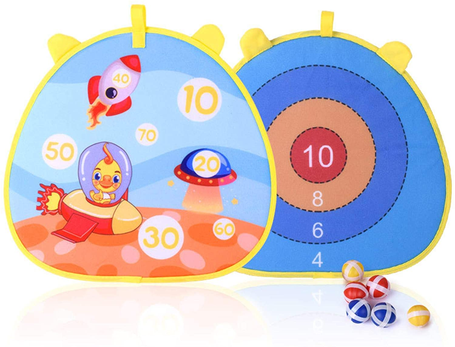 nicything Dart Board Game for Kids with 6 Sticky Balls, Safe Classic Double-Sided Dartboard Set, Christmas Birthday Dart Games Gift for Boys and Girls Indoor Outdoor Classic Games