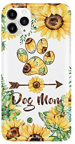 Dog Mom Sunflower Mom Gift Mother's Day Phone Case for Apple iPhone XR - Anti-Scratch Tempered Glass Back Cover TPU Frame Fashion Slim Case Anti-Drop for iPhone Samsung