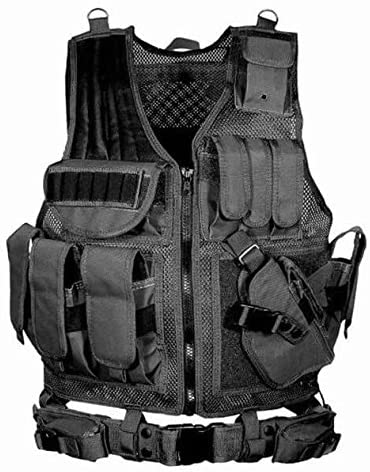 Houkiper Tactical Vest Multi-Pocket SWAT Army CS Breathable Combat Training Vest, Hiking Accessories Outdoor Hunting Hiking Camping Equipment,Black