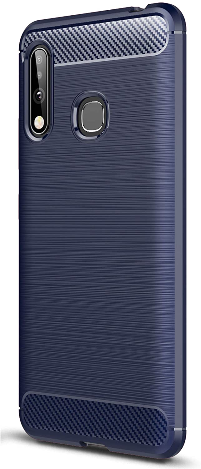 XINFENGDI Case for Samsung Galaxy A70E, Shockproof Brushed Rugged Grip Case, Flexible Silicone Cover with Carbon Fiber Design for Samsung Galaxy A70E - Blue