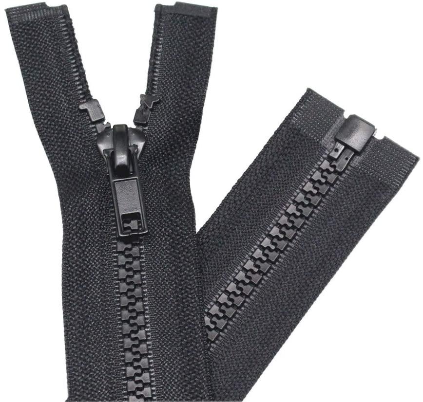 YaHoGa 2PCS #5 11 inch Separating Jacket Zippers for Sewing Coats Jacket Zipper Black Molded Plastic Zippers Bulk (11