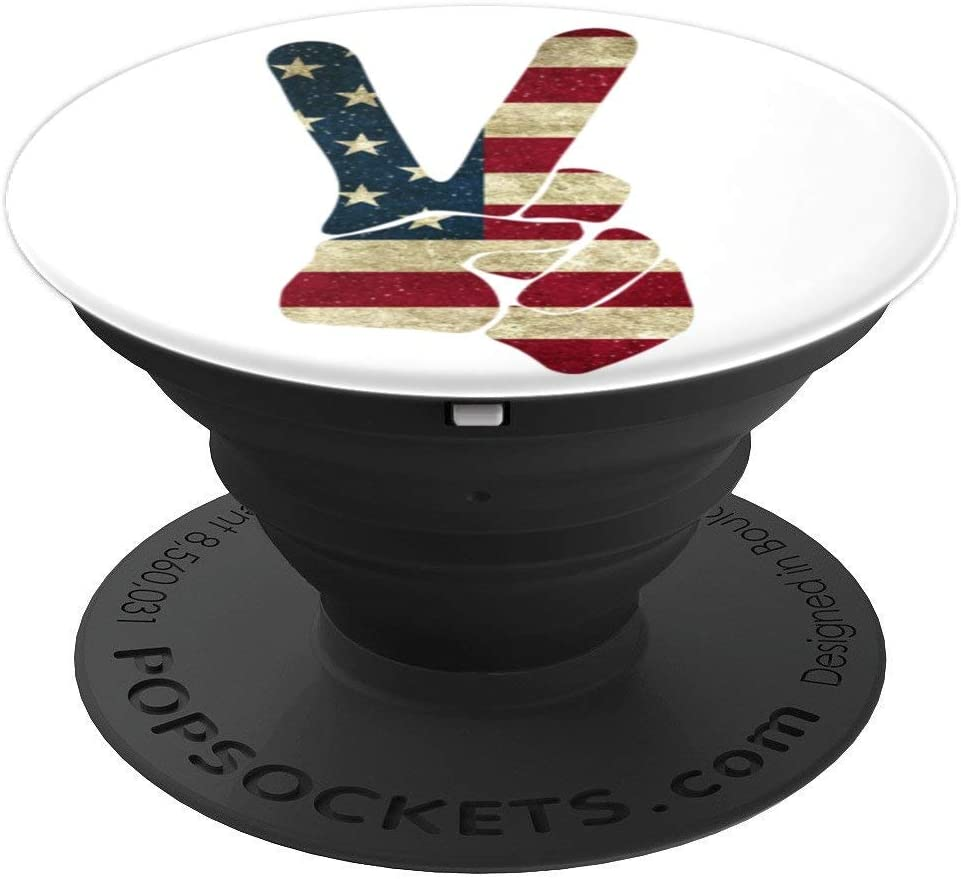 Large Peace Symbol Kindness Hand USA Flag Good Vibe Patriot PopSockets Grip and Stand for Phones and Tablets
